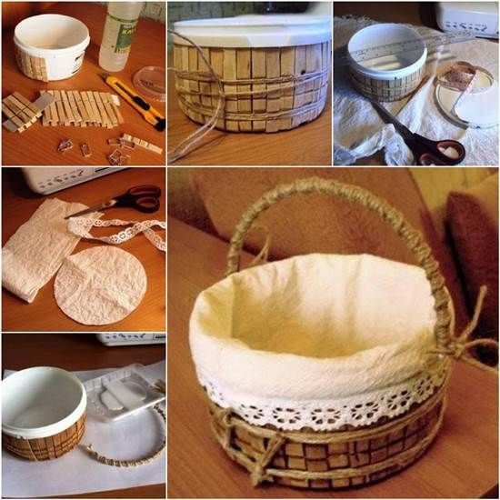 How to DIY Storage Basket from Recycled Plastic Container and Clothespins | iCreativeIdeas.com Like Us on Facebook ==> https://www.facebook.com/icreativeideas