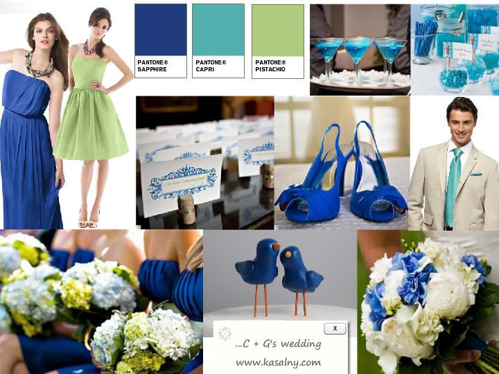 KASAL NY SAPPHIRE PISTACHIO : PANTONE WEDDING Styleboard : The Dessy Group