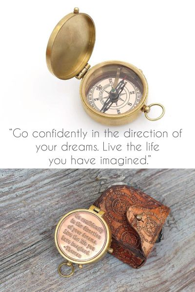 "College graduation gifts - Inspirational Quote Compass ""Go confidently in the direction of dreams. Live the life you have imagined"" 