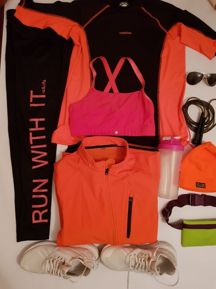 Run active women s jogging ADIDAS shoes size 38 Women s running TRIBEKA size s Wind and rain proof jacket coral size xs Adult short sleeve UV protection running top T shirt black and coral Decathlon Sportance confort running bra pink Adult hat orange  Sunglasses Water bootle Adult skipping rope black Running waistband