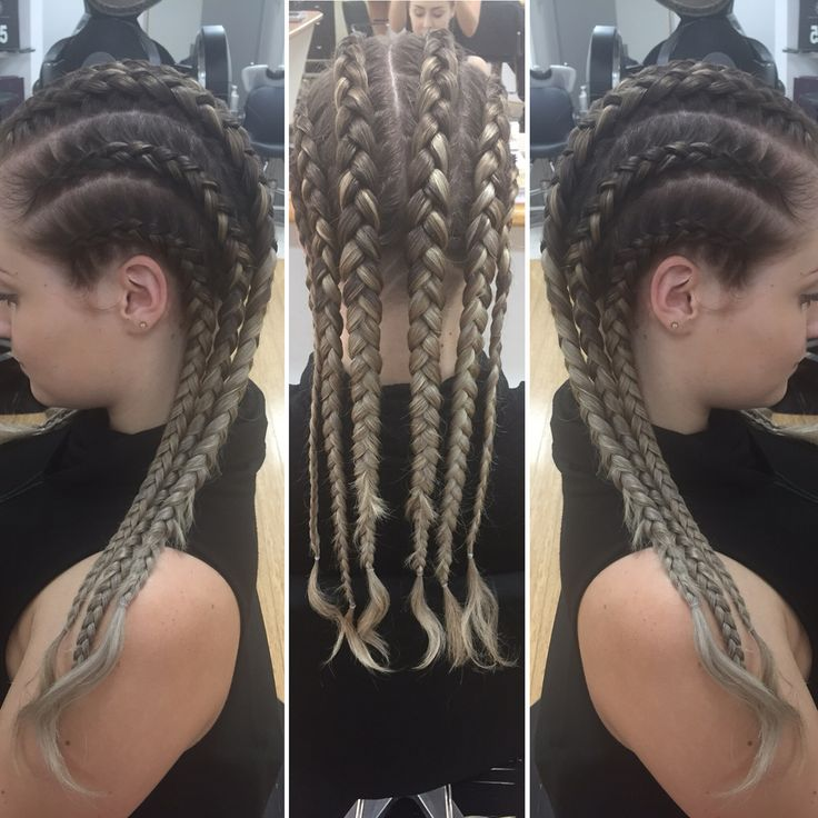 Tight Dutch braids (inside-out braids)