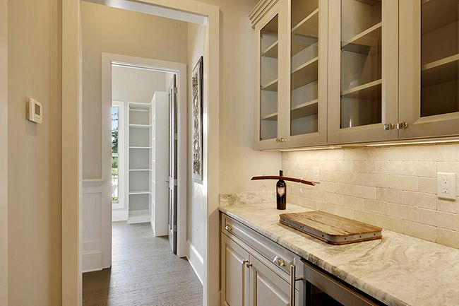 Butler's pantry with wine cooler and plenty of places for those nice bar glasses.
