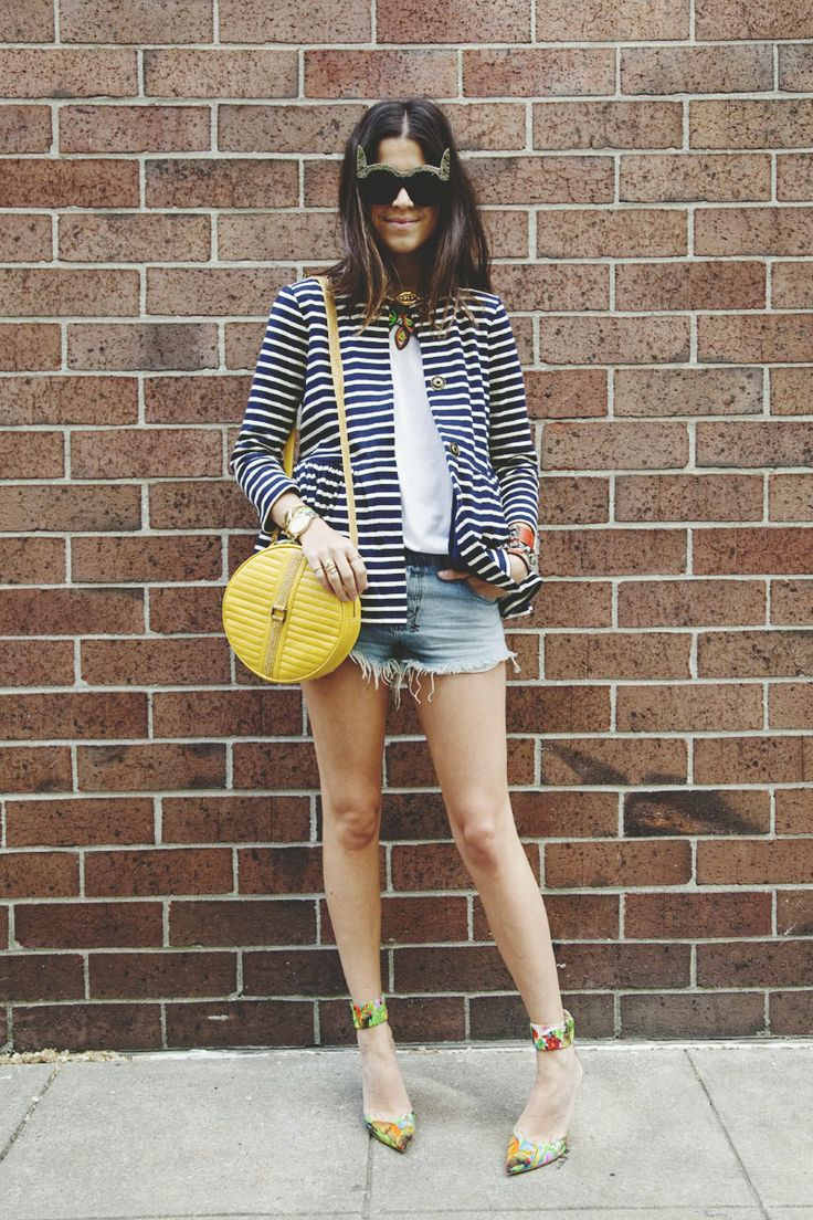 cut offs: Light Pink Blazers, Fashion Clothing, Women Style, Style Inspiration, Gorgeous Shoes, Stripes Blazers, Man Repellent, Cut Off, Stripes Jackets
