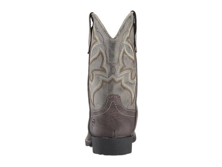 Roper Kids Cody (Toddler/Little Kid) Cowboy Boots Brown Faux Leather/Vamp Green Shaft