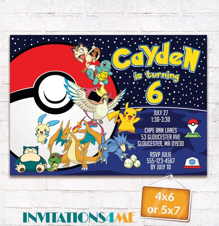 Pokemon Invitation Pokemon Go Birthday Party Invite Pokemon Battle Printables Supplies Pack Customized Digital File by INVITATIONS4ME on Etsy