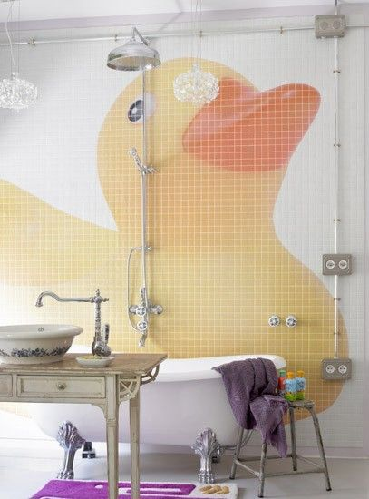 bathroom tile mural/ hunny you want to do this for the kids? :)