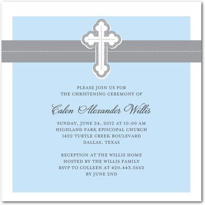 Baptism, Christening Invitations Cherished Cross - Front : Stream