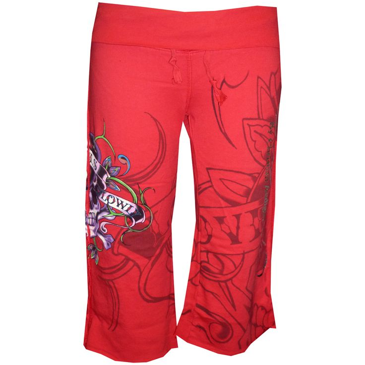 Ed Hardy Womens Foiled Capri Pants- Red