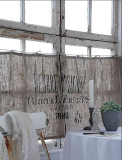 Inspire: French Vintage Grain Sack Cafe Curtains featured in Jeanne d'Arc Living Magazine