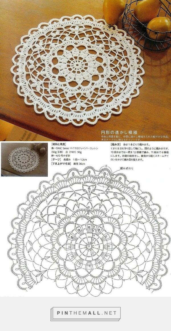 Crochet round doily, floral lace ~~