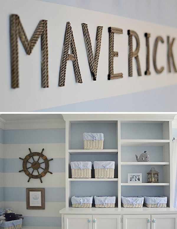 Nautical Rope Letters - love these accents in this traditional nautical nursery!