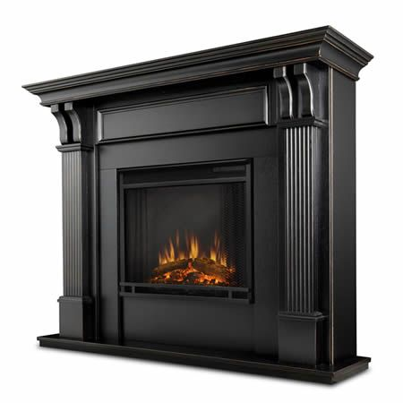 Ashley Black Wash Electric Fireplace   WoodlandDirect.com: Indoor Fireplaces: Electric, Real Flame