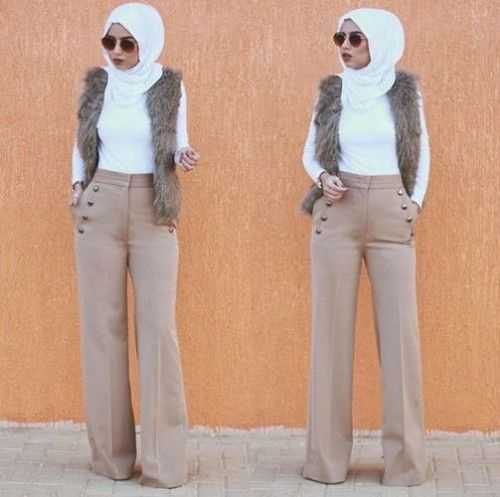 palazzo pants with hijab- How to get hijab trendy looks http://www.justtrendygirls.com/how-to-get-hijab-trendy-looks/