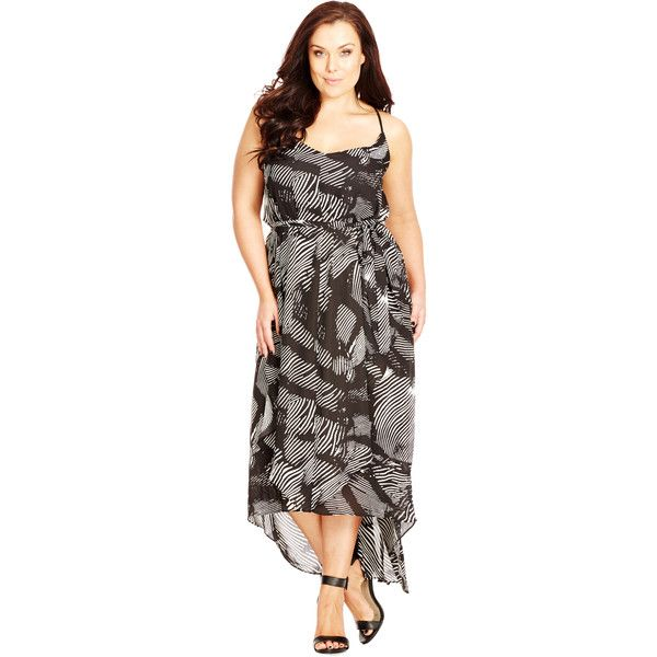 City Chic Strappy V Neck Ruffled Maxi Dress (90 CAD) ❤ liked on Polyvore featuring dresses, hi lo maxi dress, brown maxi dress, spaghetti-strap maxi dresses, v neck dress and maxi dresses