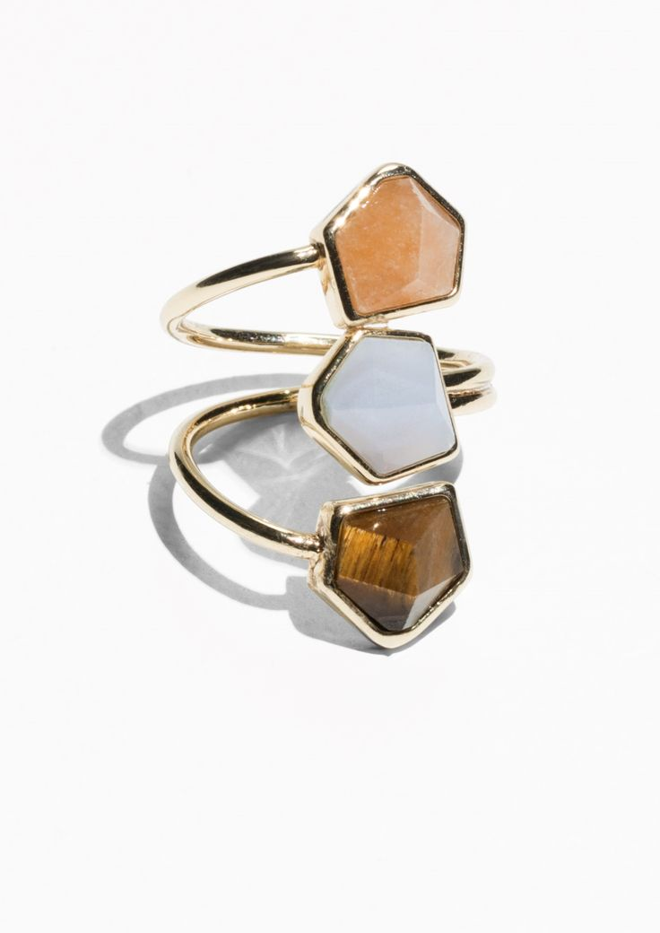 & Other Stories Tripple Stone Ring in Blue