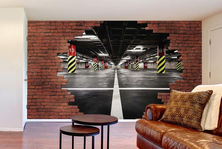 le mur de briques rouges se casse pour d couvrir un garage en perspective break parking mur. Black Bedroom Furniture Sets. Home Design Ideas