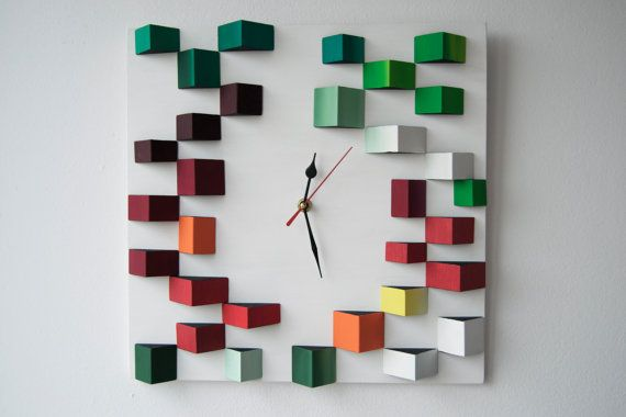 Deco Angles / Wood wall clock / Geometric mosaic /  by DecoBoxRo, $109.00