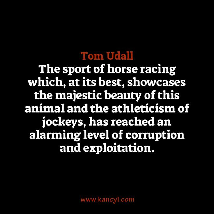 """The sport of horse racing which, at its best, showcases the majestic beauty of this animal and the athleticism of jockeys, has reached an alarming level of corruption and exploitation."", Tom Udall"