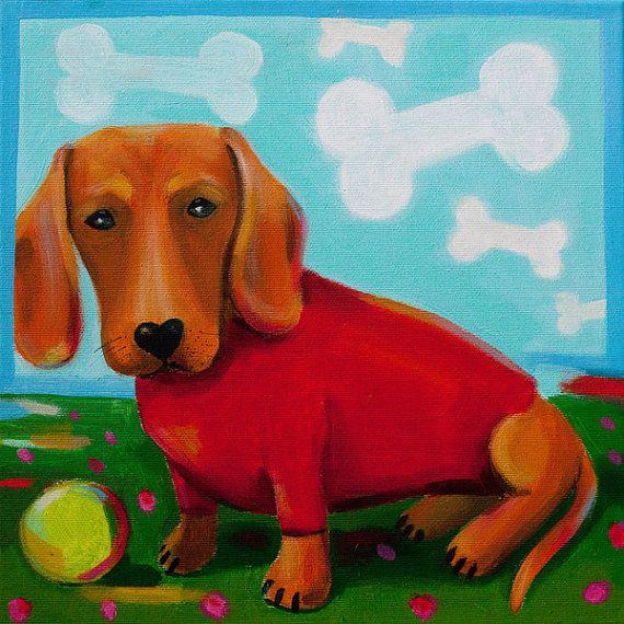 {playful Dachshund - original acrylic painting}