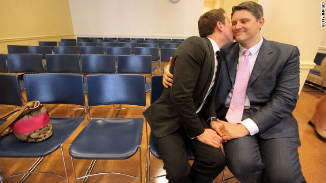 A gay couple embrace on their wedding day at the Brooklyn City Clerk's office on July 24, 2011, in New York City.: Samesex Marriage, Us, Clerk Offices, New York Cities, Cities Clerk, Gay Weddings, Gay Couple, Conservation Cases, Brooklyn Cities