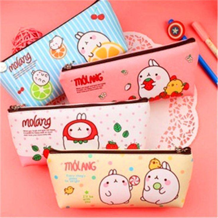 Cartoon Trapezoidal Rice bags pencil Korea stationery Fruits pencil box cartoon rabbit material escolar