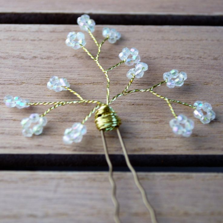 Gold and crystal ab hair pin - perfect accessory for bridal wedding hair by AccessoriesShine on Etsy