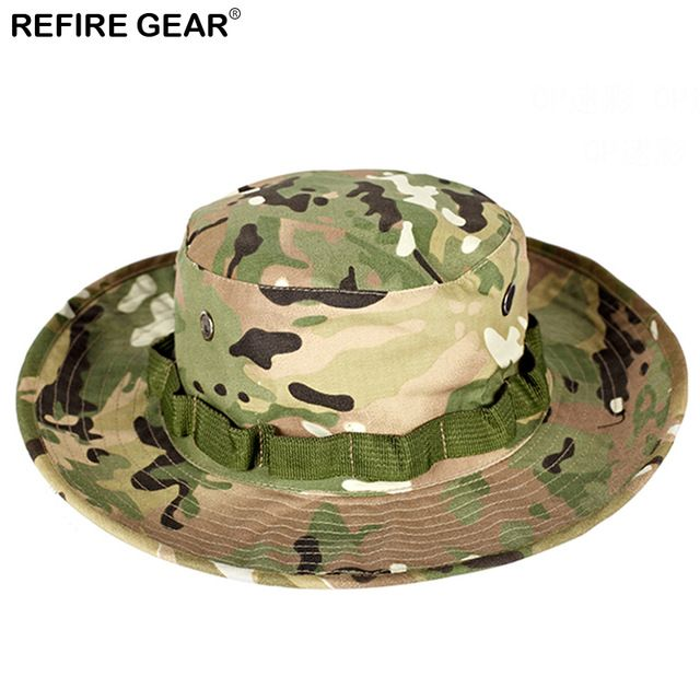 c9ab64e016d Summer Outdoor Camouflage Bucket Hat Men Camo Wide-brim Fishing Boonie Hat  Hiking Breathable Camping Hunting Airsoft Cap Hat Review