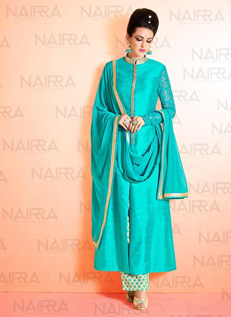 Bhagalpuri Silk Turquoise Incredible Unstitched Salwar Kameez