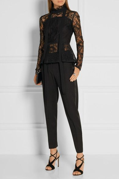 Elie Saab - Pussy-bow Pleated Lace Peplum Top - SALE20 at Checkout for an extra 20% off