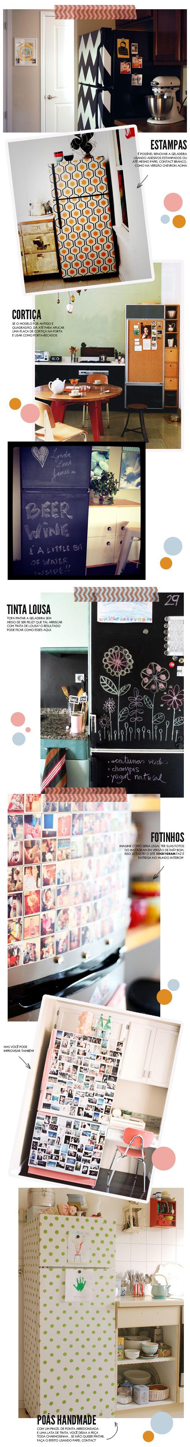 GELADEIRA VELHA? Várias maneiras criativas de deixar a eladeira com cara de nova! http://colunas.revistaglamour.globo.com/referans/2013/05/29/geladeira-velha/
