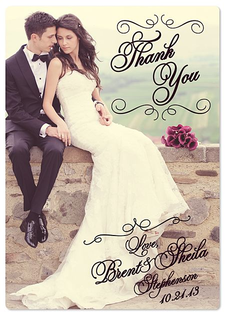 Full Photo Wedding Thank You Magnet Elegant Swirls