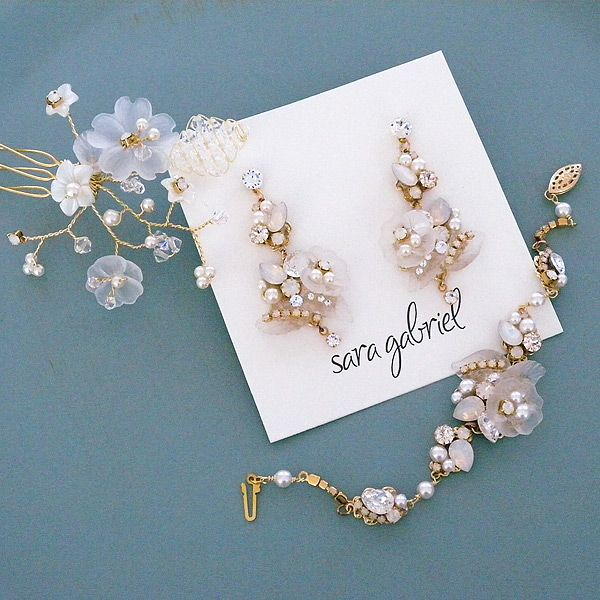 Feminine, romantic bridal jewelry & hair combs from our Sara Gabriel Collection.