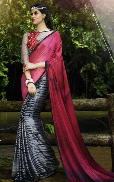 Picture of Exotic Gray and Pink Georgette Printed Saree