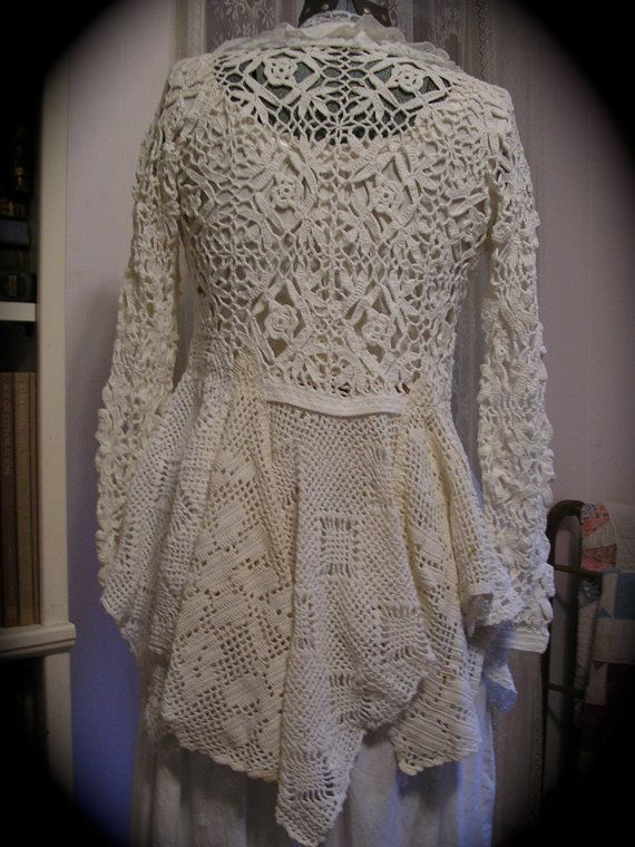 Romantic Sweater Coat, victorian, white cotton crocheted doilies, vintage upcycled