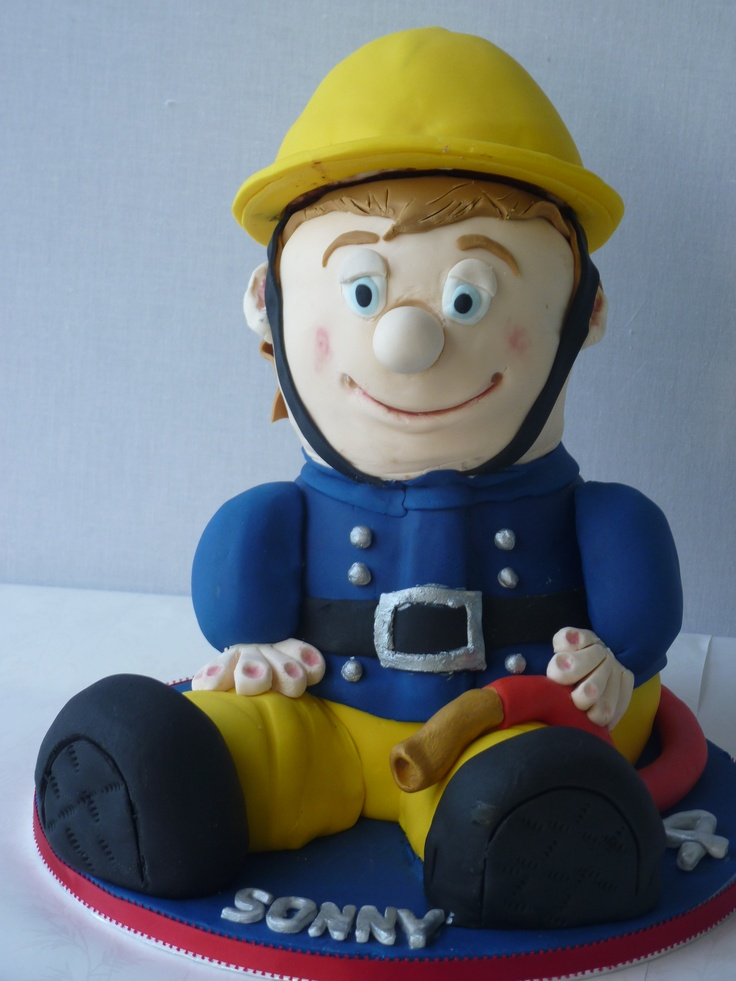 Fireman Sam - entirely edible made from scrumptious chocolate cake!  For Sonny aged 4