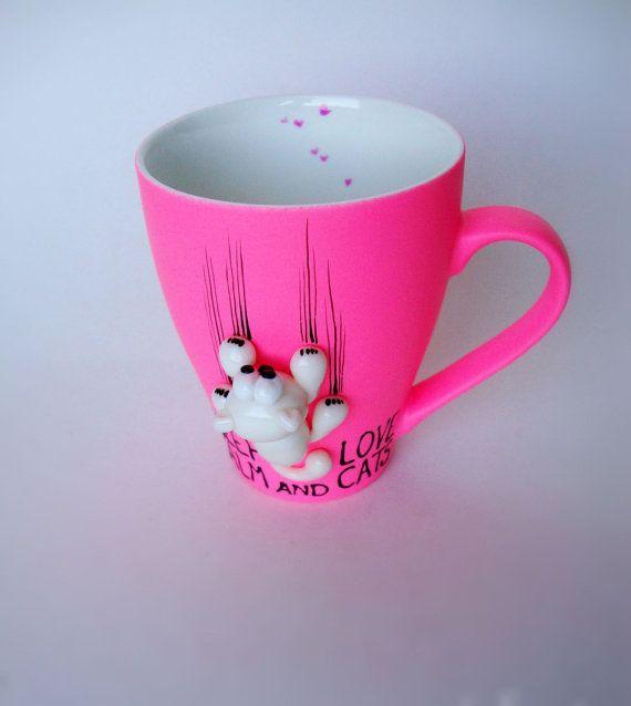 Pink Cat Mug Keep Calm Hand Painted Coffee Mug Hot by doodleNart