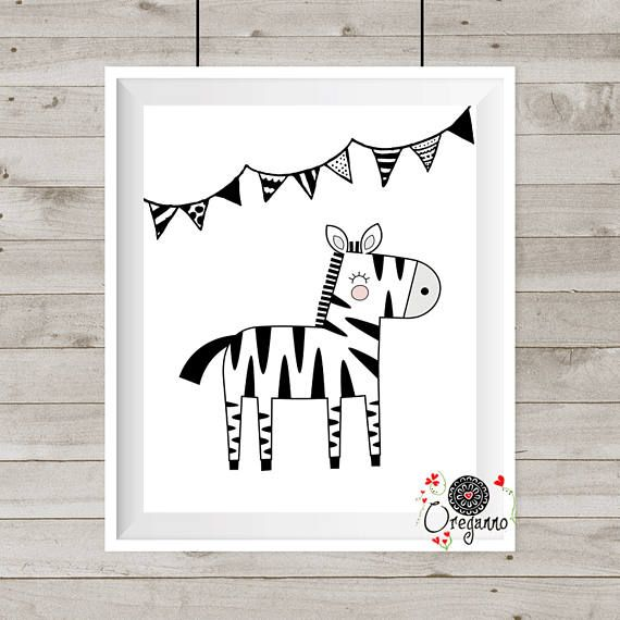 Safari Zebra print-Nursery zebra printable-Neutral gender