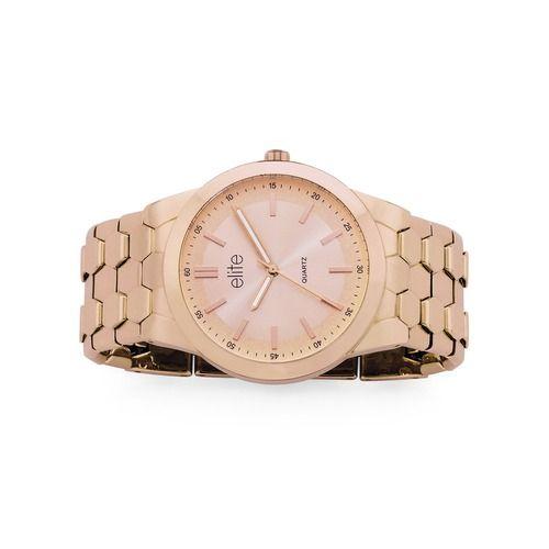 elite Ladies Rose Tone Round Large Wide Glam Bracelet Watch   Goldmark Australia