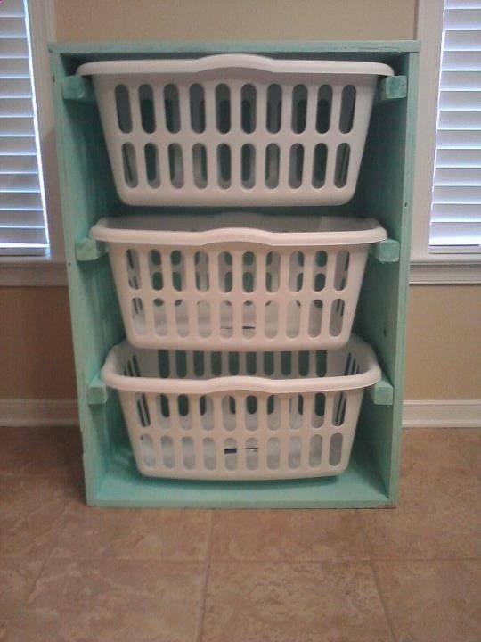 laundry basket dresser... This would fit perfectly in the laundry room to sort all the laundry!!!