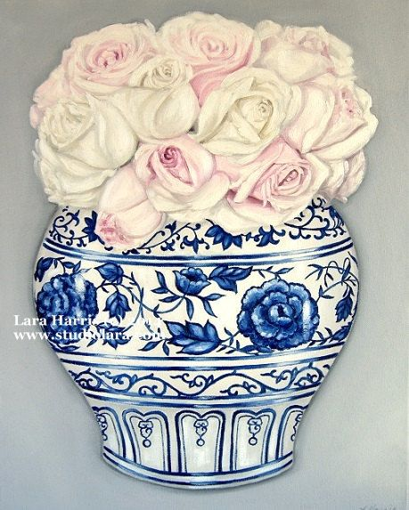 Blush Pink and White Roses in a Ming Vase . . . . .16x20 Original Oil Painting by LARA Ginger Jar