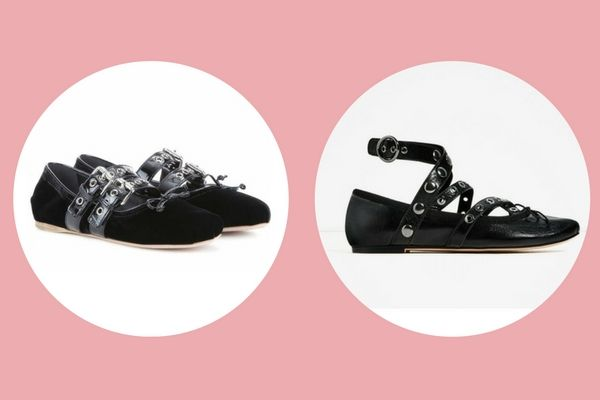 Miu Miu Velvet and patent leather ballerinas  (€550) vs. Zara leather ballet flats with straps and studs (€39,95)