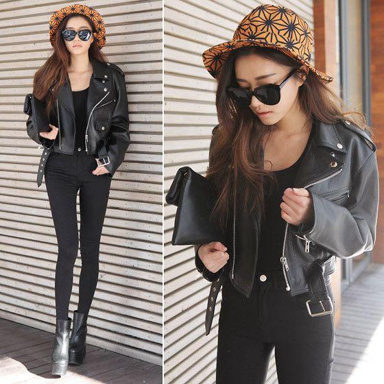 Chic black (by Sora Park) http://lookbook.nu/look/4501253-chic-black-Jacket-Pants-Shoes