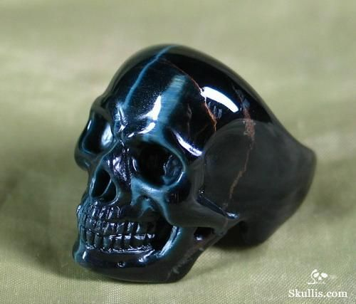 Blue Tiger's Eye Skull Ring