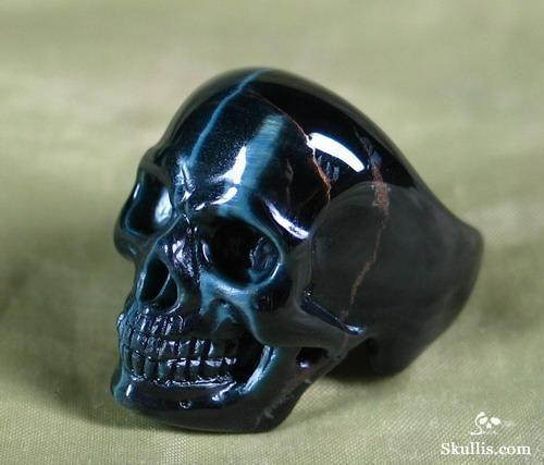 Blue Tiger's Eye Skull Ring