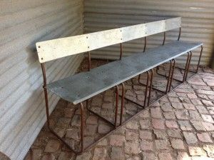 Can just image watching an outdoor movie from this Industrial bench seat