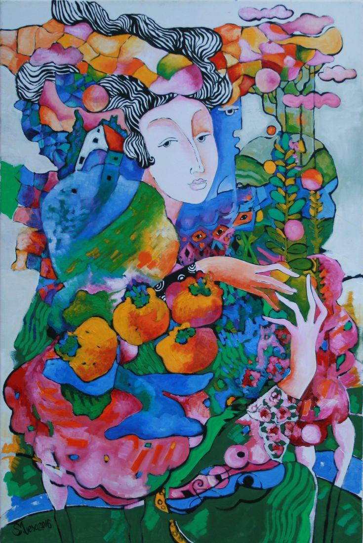 Stela Vesa - Gallery, Lady with fruits, o/c, 60x90 cm