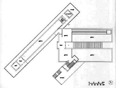 Drawing courtesy Langen Foundation    Site area: 120,220 square meters  Building area: 1,860 square meters    Completed: 2004    Client: Langen Foundation  Architect: Tadao Ando & Associate