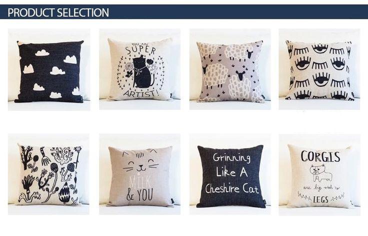 Простой черный белый геометрические подушки CORGIS чеширский кот черная туча растения вьющиеся овцы декоративные подушки бросок для диван купить на AliExpress