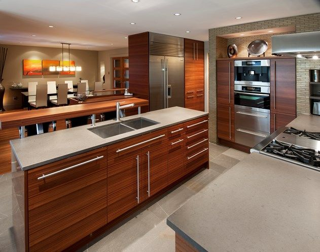 Sapele Wood Installed For A Horizontal Grain Was Stained To Match Jatoba  Flooring In Adjacent Spaces