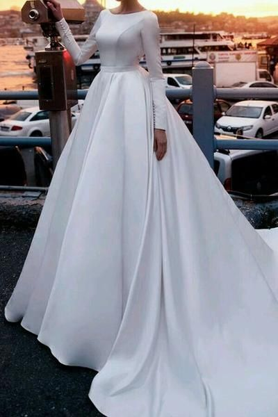 9ac1bd950e17 Satin Royal-inspired Cathedral Train Wedding Gowns Long Sleeves in ...
